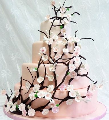 Pretty.: Cakes Desserts, Cakes Cookies, Cakes Ideas, Cakes 3, Cherries Blossoms Cakes, Cakes Luv, Wedding Cakes, Creative Cakes, Cakes Cherries Blossoms