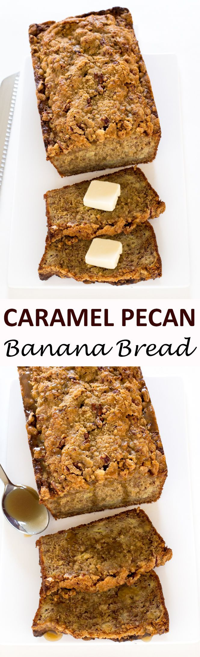 Caramel Pecan Banana Bread swirled with homemade caramel sauce and topped with a pecan streusel topping. This is the BEST banana bread you will ever have! | chefsavvy.com #recipe #banana #bread #caramel