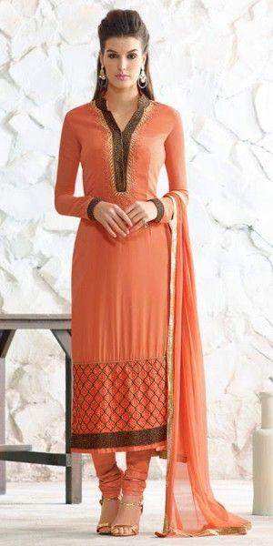 Classic Orange Georgette Straight Suit.