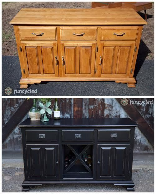 Wine bar made from an old buffet or the base of a hutch by FunCycled www.funcycled.com