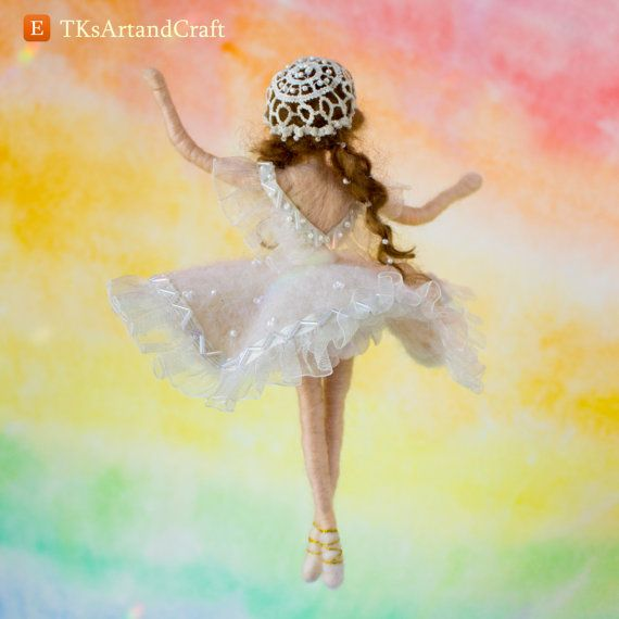 Needle Felted Doll  Ballet Dancer in White by TKsArtandCraft