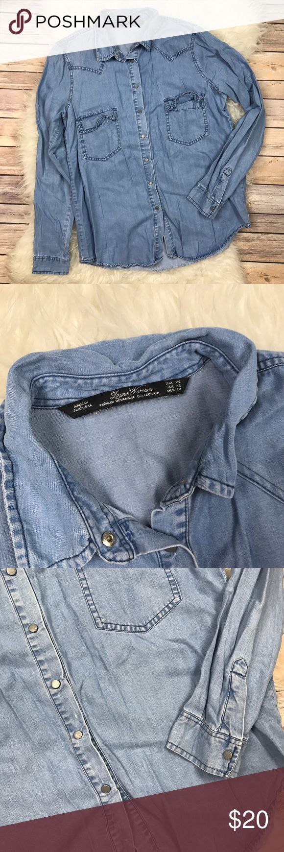 """Zara Woman Denim Collection Chambray Shirt Good condition Zara Woman Denim Collection Chambray shirt. Size XS. Cotton. Bust 38"""", length at longest 25"""". No trades, offers welcome. Zara Tops Button Down Shirts"""
