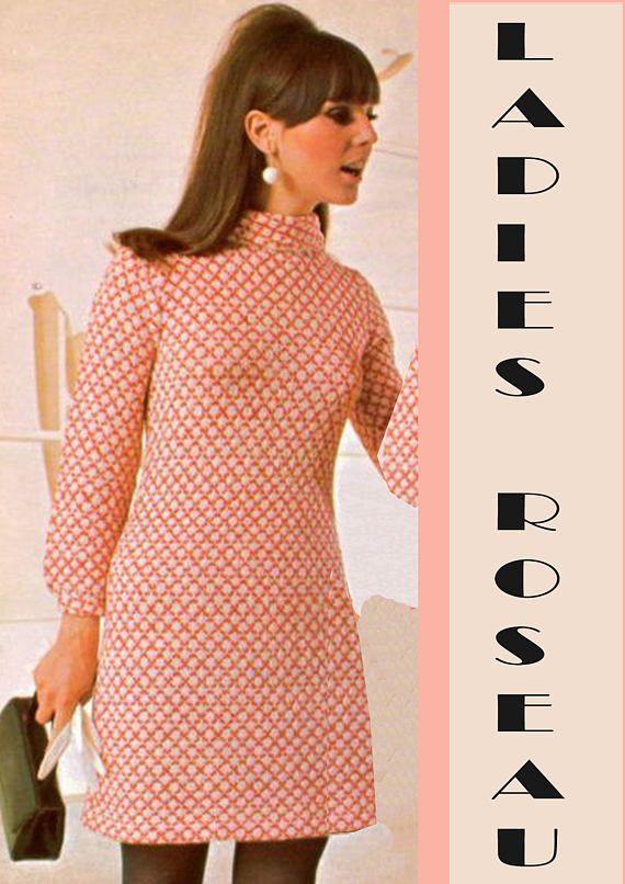 Vintage 1960s Womens Ladies Mini Dress Knitting Pattern