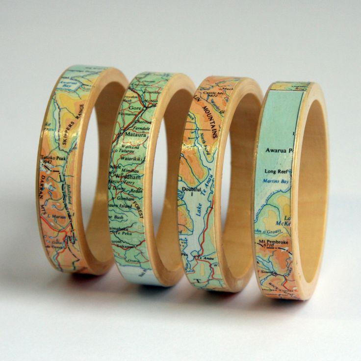 Wooden Map Bracelet - Bangle - small size | Felt
