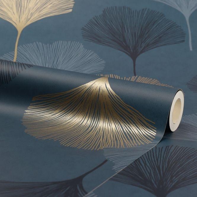I Love Wallpaper Gingko Leaf Wallpaper Navy Gold Wallpaper From I Love Wallpaper Uk Leaf Wallpaper Gingko Leaves Blue Flower Wallpaper