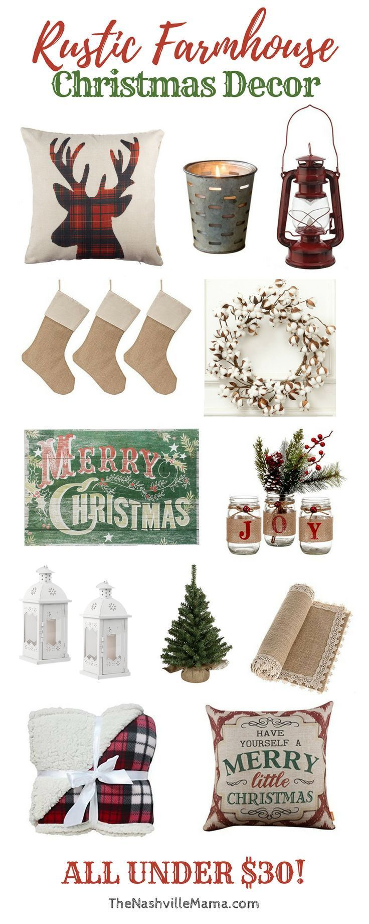 Rustic Farmhouse Christmas Decor. All budget friendly and affordable!