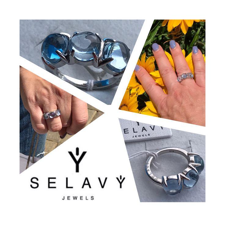 """SELAVY' JEWELS Anello trilogy collezione """"Boule"""" in argento 925 e tre meravigliosi quarzi idrotermali azzurri tagliati a cabochon. Visita il nostro SELAVY' STORE www.selavyjewels.com#selavyjewels #boule #amore #argento #anello #cool #colore #cabochon #madeinitaly #taormina #elegante #ecommerce #donne #design #trilogy #azzurro"""