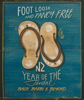 Foot Loose Jandals by Jason Kelly for Sale - New Zealand Art Prints