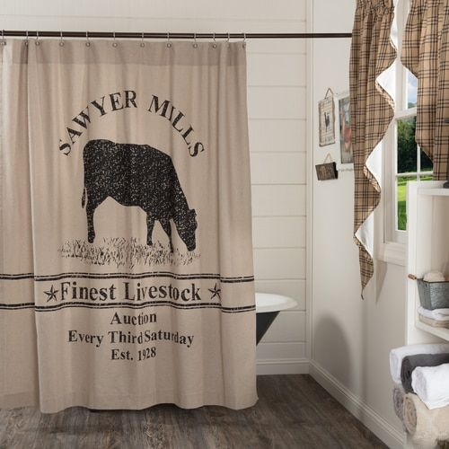 Sawyer Mill Charcoal Cow Shower Curtain Fabric Shower Curtains