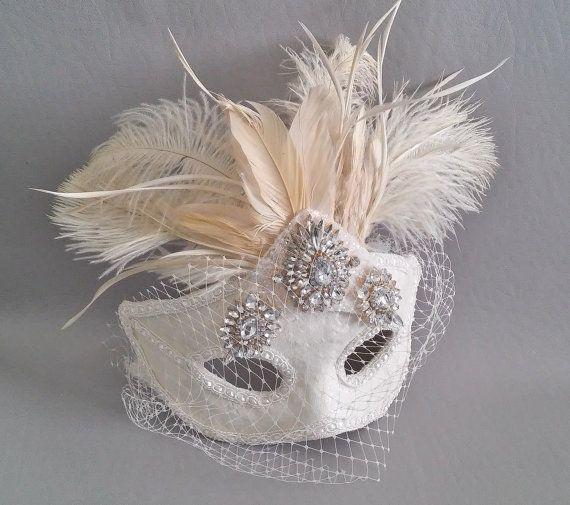 Bridal Mask,Ivory Crystal Bridal Mask, Ivory Feather Masquerade Mask,Crystal Feather Prom Mask,Birdcage Veil Mask