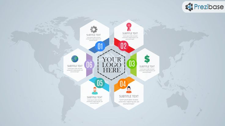 Free hexagon style layout world infographic prezi template for Lago design prezzi