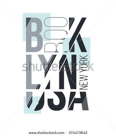 vector illustration for design print T-shirt with an abstract inscription Brooklyn new york USA, stylish geometric graphics on a white background
