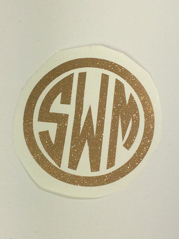 Gold Glitter Monogram Decal Gold Monogram Decal by RoselandHaven