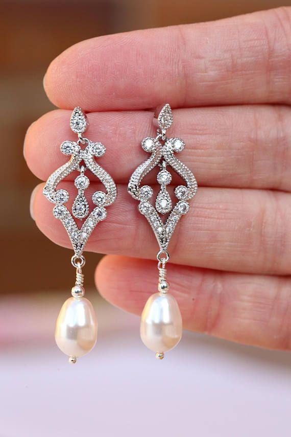 Bridal Earrings Art Deco Earrings Vintage Style Crystal