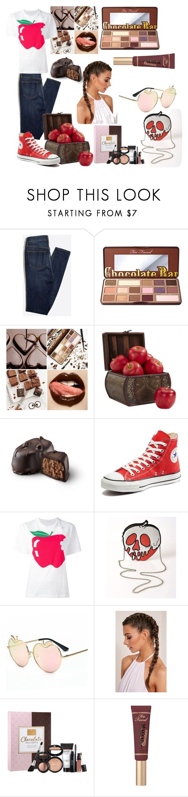"""""""Chocolate 🍫 and apples🍎"""" by audreybrookezaring ❤ liked on Polyvore featuring Too Faced Cosmetics, Nearly Natural, Converse, Peter Jensen, Danielle Nicole and Laura Geller"""