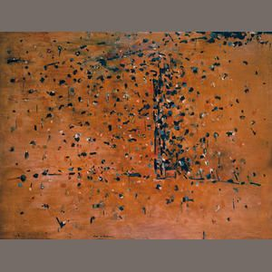 Fred Williams (1927-1982) You Yangs landscape 1 1963  signed 'Fred Williams' lower left oil on masonite 137.0 x 180.3cm (53 15/16 x 71in). Sold for AU$ 2,287,500 inc. premium