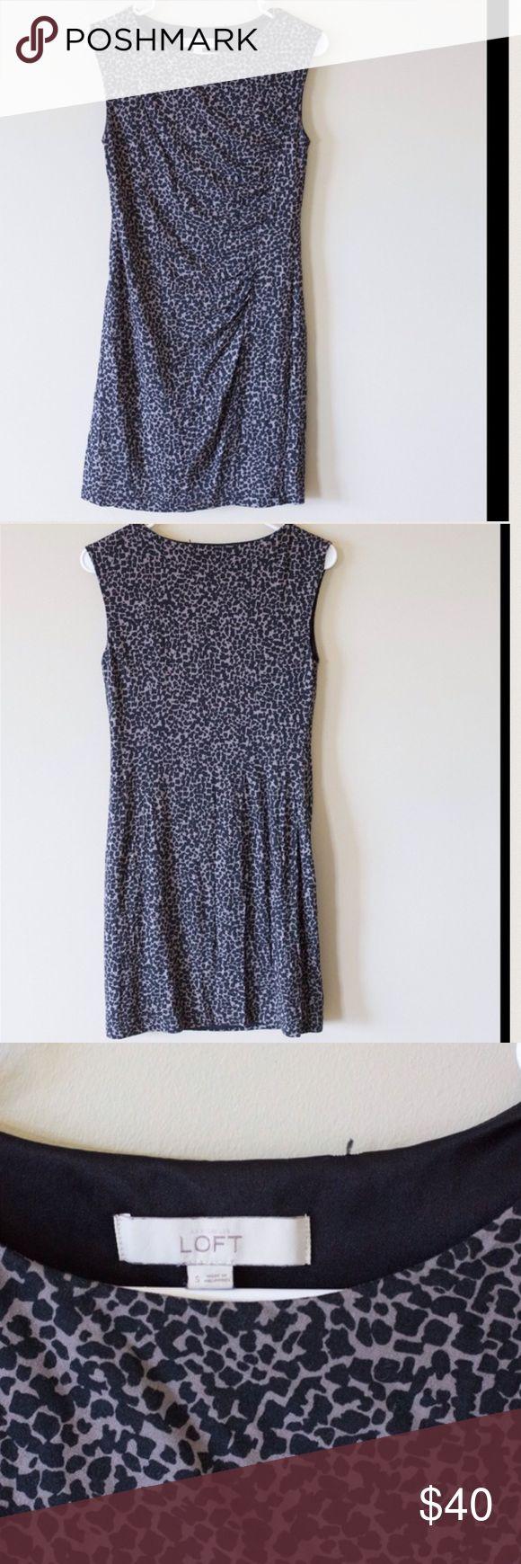 Loft cheetah print dress with tank top straps LOFT cheetah print side cinch dress. No damage, body 70% rayon shell 100% polyester LOFT Dresses