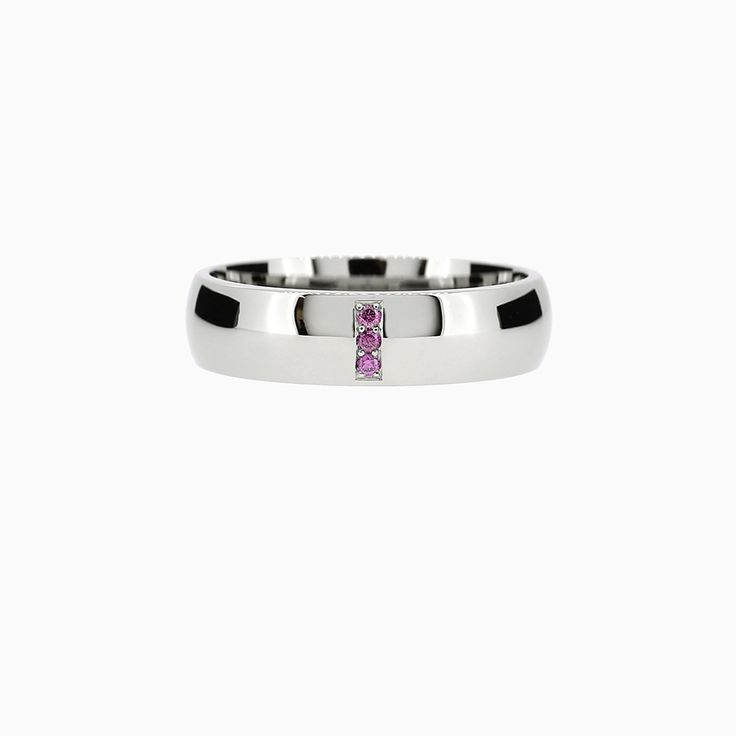 Line Classic Ring with Rubies in Palladium
