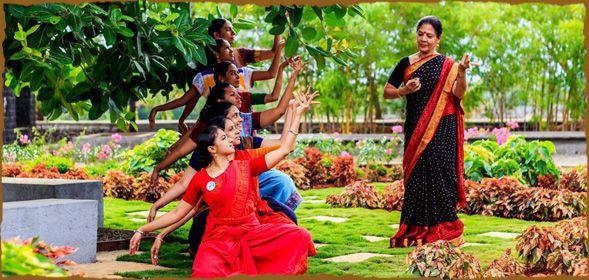 CNB Director (Dance) Ramaa Bharadvaj conducts an outdoor class for Bharatanatyam students during the Summer Arts Intensive at Chinmaya Naada...