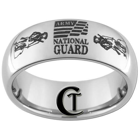 8mm Tungsten Carbide Domed Army National Guard by CustomTungsten