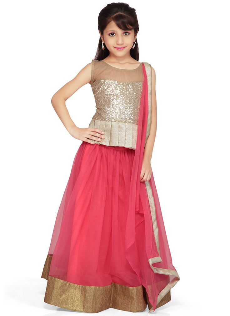 Dainty Pink Net K and U lehenga choli