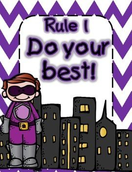 Free Superheroes Themed Rules Posters for Back to School