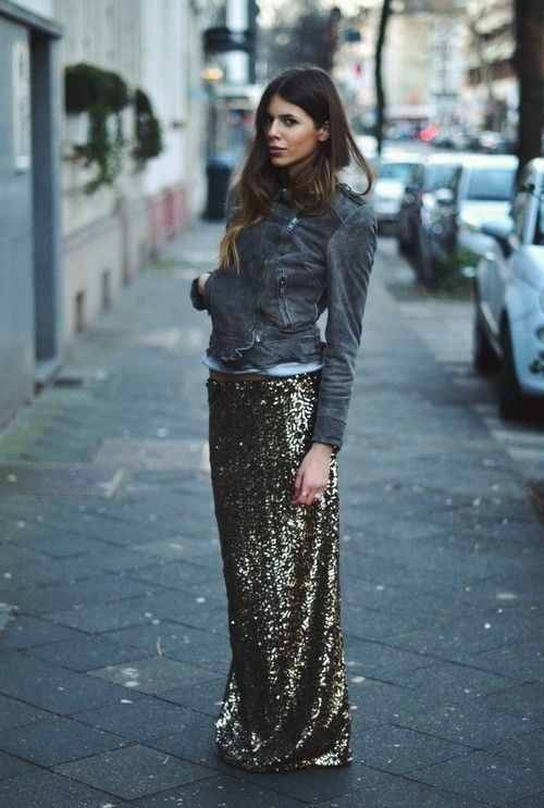 Shop this look for $98:  http://lookastic.com/women/looks/grey-denim-jacket-and-white-crew-neck-t-shirt-and-gold-sequin-maxi-skirt/1011  — Grey Denim Jacket  — White Crew-neck T-shirt  — Gold Sequin Maxi Skirt