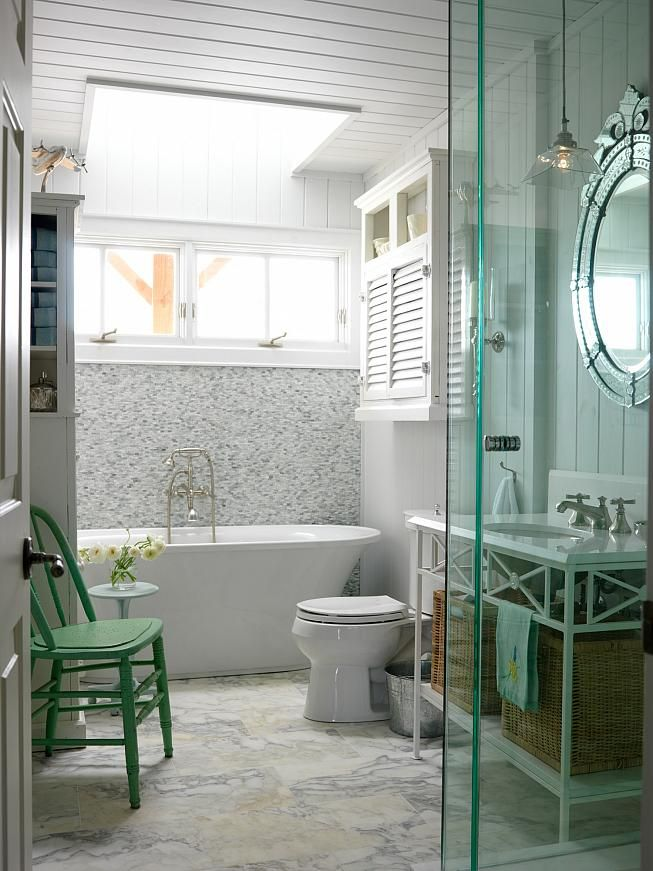 wall texture behind tub floor material color of glass shower sarah richardson design sarahu0027s cottage bathroom