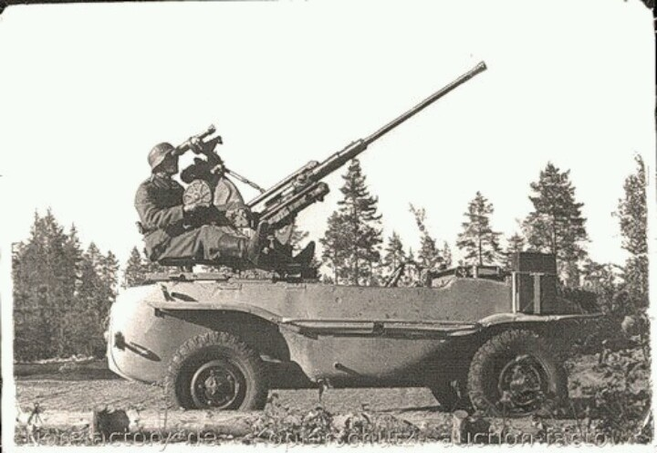"German 20mm ""AA gun"" on a Volkswagen Schwimmwagen amphibious vehicle."