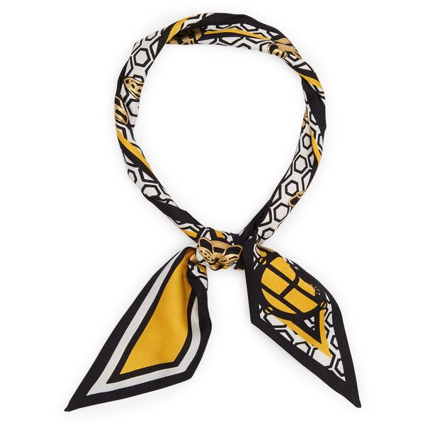 Henri Bendel Whimsy Bee Skinny Mini Scarf (155 PEN) ❤ liked on Polyvore featuring accessories, scarves, medium yellow, silk scarves, pure silk scarves, yellow scarves, yellow shawl and yellow silk scarves