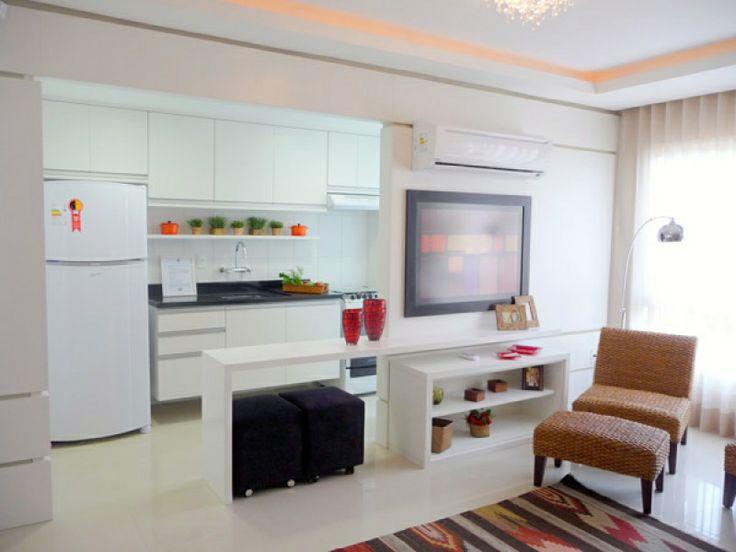 cozinha conjugada com sala  ap pequeno  Pinterest ~ Sala De Estar Pequena Conjugada Com Cozinha Americana