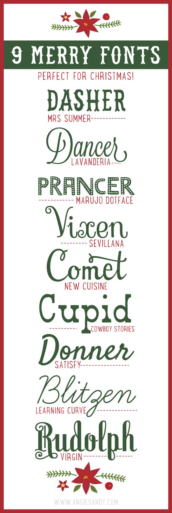 9 Merry Fonts for Christmas || Angie Sandy Art Licensing & Design