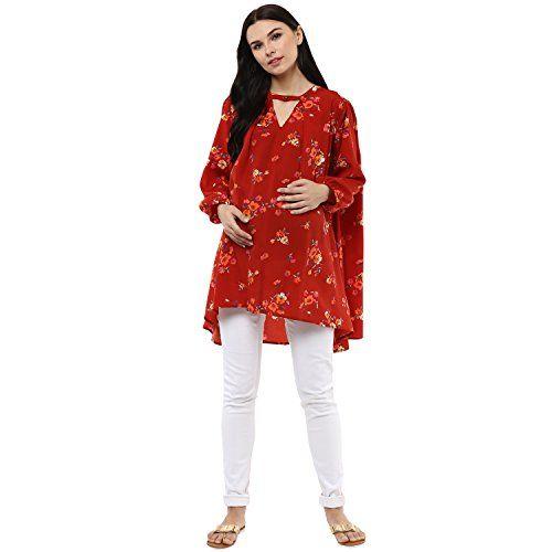 Wobbly Walk Women's V-Neck, Full Sleeves, Floral Print, Maternity Top, Orange