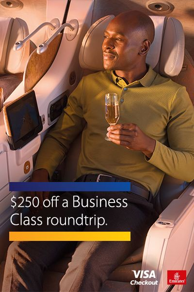 From a fast reservation to fully-reclined relaxation, get roundtrip flights the easy way with Visa Checkout.   Save on an Emirates roundtrip flight when you book using Visa Checkout with Promo Code: USVISAC. Offer valid through 11/24/2016. Must travel between 10/24/16 and 7/24/17. Valid only on U.S.-outbound roundtrip fares. Conditions apply for each fare. Terms and fare rules apply.