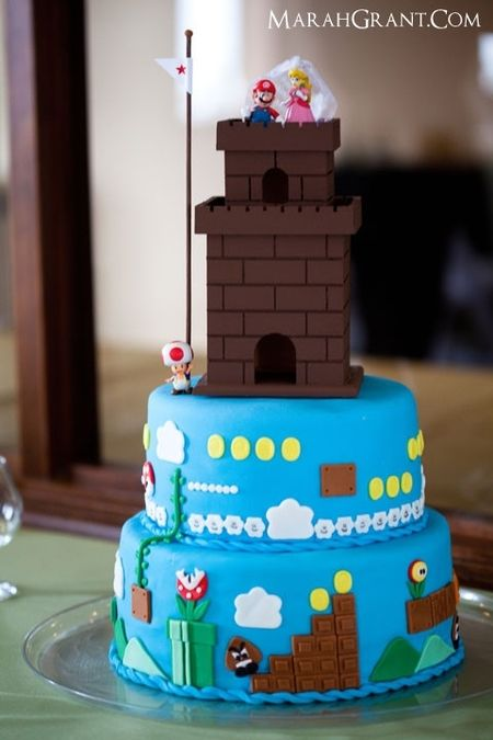 Mario castle cake!Mario Cake, Grooms Cake, Cake Design, Cake Wreck, Super Mario Brother, Mario Bros, Awesome Cake, Wedding Cake, Birthday Cake