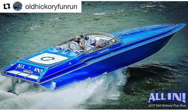One Good Looking Fountain running hard @oldhickoryfunrun Looks like a great time!  Thanks for tagging us!!  Team @all_in_fountain running in the last years #oldhickoryfunrun !!! Awesome @fountainboats in beautiful @universityofky blue!!! #fountain #gobigblue #allin #powerboat #tnpowerboatclub