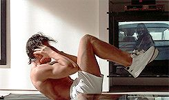 """Christian Bale - work on those abs Baby!! Only Patrick Bateman would work out with """"Texas Chainsaw Massacre"""" playing in the background! Creepy :-o"""