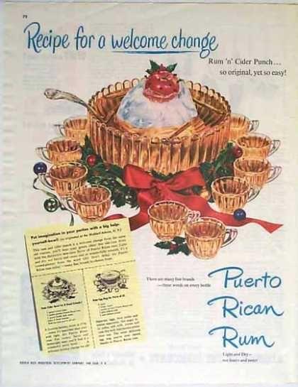 Puerto Rican Rum Christmas – Rum n Cider Punch Recipe (1949)
