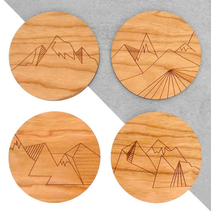 A set of 4 beautiful wooden coasters laser etched with four different mountain landscape patterns.These wooden coasters would make a great addition to your coffee table and are the perfect housewarming or wedding gift for any nature lover or adven...