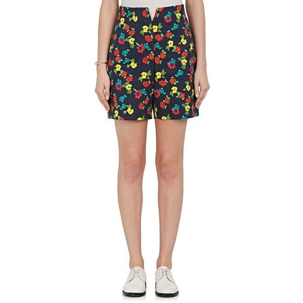 Thom Browne Women's Floral Cotton Shorts ($499) ❤ liked on Polyvore featuring shorts, navy, thom browne shorts, high waisted navy shorts, colorful shorts, high-waisted shorts and floral shorts