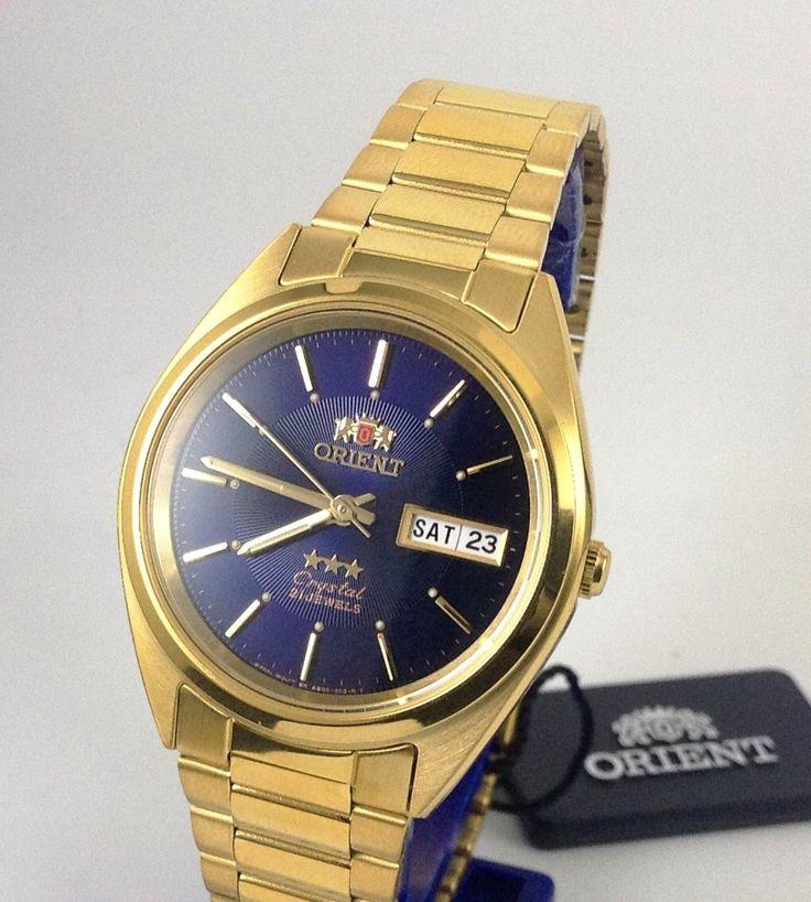 New Reloj Orient Automatic Watch Men Gold Tone Dark Blue Dial W/ Orient Box | eBay