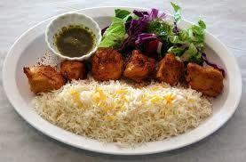 Yogurt marinated Afghan chicken kabob--great tenderizer.