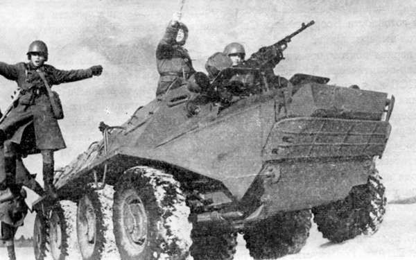 Replacing the earlier BTR-152, the BTR-60P lacked overhead protection for carried troops