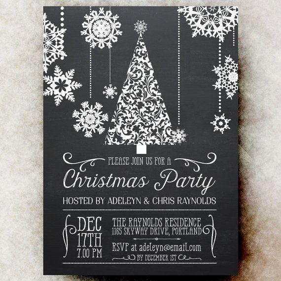 Chalkboard Christmas Party Invitation - Christmas Tree Party invitation, white party invitation, printable Christmas invitation