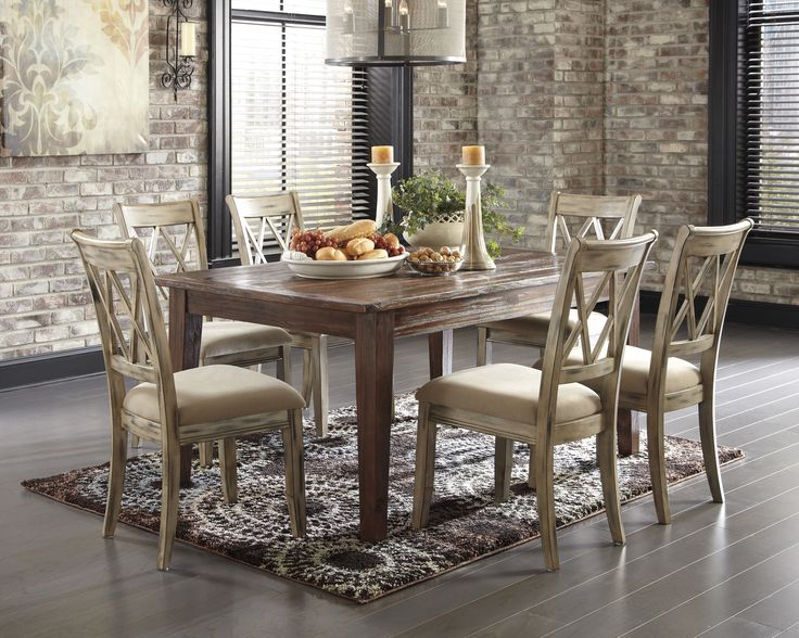 Mestler Table Set With Antique White Side Chairs Upholstered Seats By Signature Design Ashley At Colders Furniture And Appliance