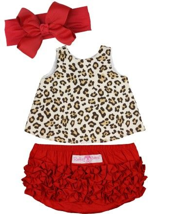 The perfect set for your wild one! The cool, comfortable style makes this an everyday play option, yet the fun fabric gives it that extra flair for special wear. RuffleButts 3-Piece Red Leopard Set | www.RuffleButts.com