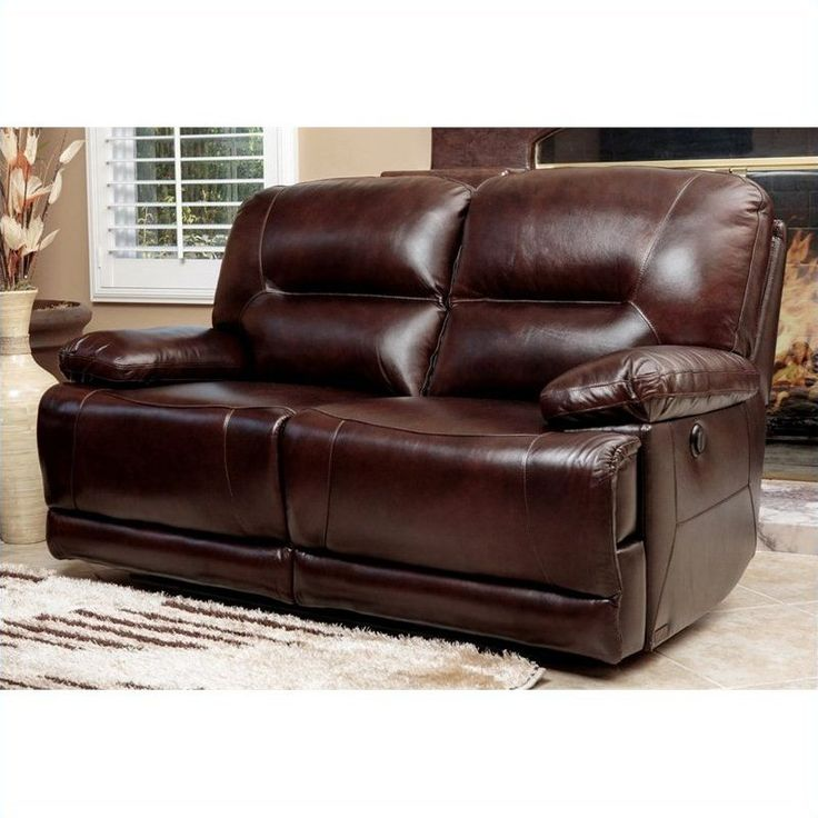 abbyson living rio reclining hand rubbed leather loveseat in brown - Loveseat Recliners
