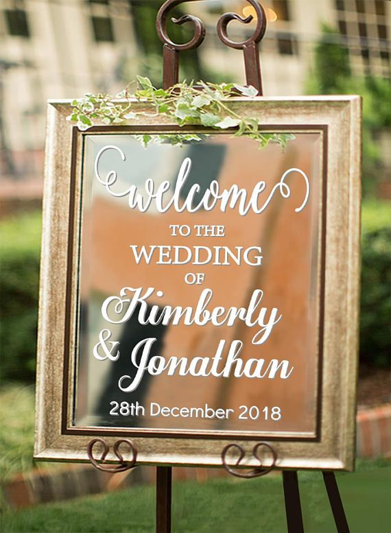 Personalized Welcome to Wedding Decal Sign for Mirror Custom