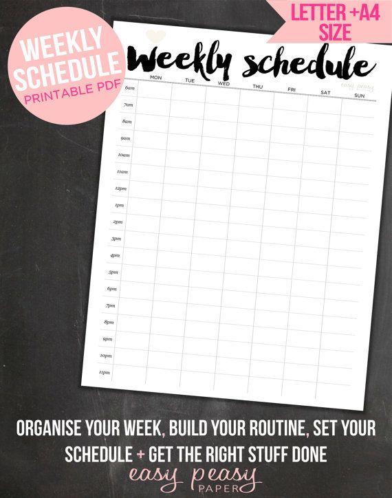 Weekly Schedule Printable  Weekly Timetable // by EasyPeasyPaper