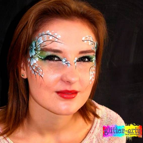 Stunning flowery eye designs, arty make- up, face art for adults by Glitter-Arty Face Painting, Bedford, Bedfordshire